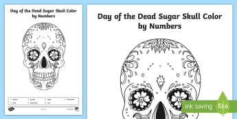 Day of the Dead Sugar Skull Color by Numbers - day of the dead, sugar skulls, color by number, day of the dead coloring sheet, coloring sheets, dia