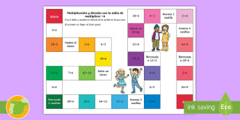 Juego de mesa: Multiplicación y división - x6 - multiplicar, dividir, mates, matemáticas, multiplciación, división, tablas de multiplicar, tabla