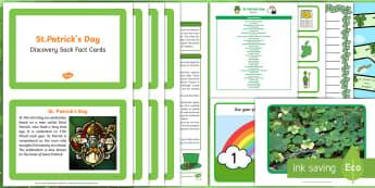 St Patrick's Day Discovery Sack - EYFS, Early Years, KS1, festival, St Patrick, Ireland, Irish, shamrock, leprechaun, green, facts, information, science, exploration, Understanding the World