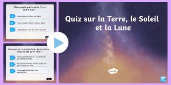 PowerPoint sur la Terre, le Soleil et la Lune - Géographie, planètes, Terre, Soleil, Lune,French