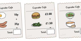 Receipt Addition Maths Activity Sheet Pack - receipts, receipt addition, addition, addition sheets, addition activities, cafe role play, maths role play, worksheet
