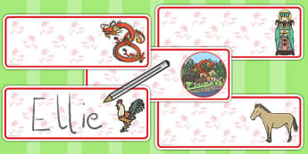 Chinese New Year Story Editable Drawer Peg Name Labels - Edit