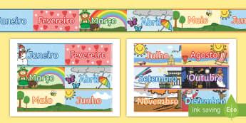 Meses do ano, faixas decorativas - dia,semana,mes,dias,semanas,meses,ano,anos,tempo,gestao,sala de aula, calendario, vocabulario