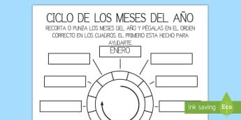 Ciclo de los meses del año Ficha de actividad-Spanish - cicle de los meses del año, mes, estación, tiempo, año, ordenar, recortar, pegar, enero, febrero,
