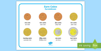 Euro Coins Word Mat English/German - Euros, money, EAL, German, English-German, German-translation