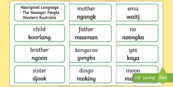 Noongar Aboriginal Language Word Cards - Australian Curriculum, HASS, The Ways In Which Aboriginal And Torres Strait Islander Peoples Maintai