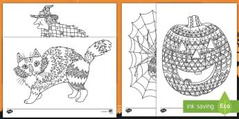Feuilles de coloriage sur le thème d'Halloween - événements, cycle 2, cycle 1, araignée, citrouille