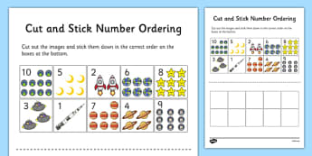 Space Themed Cut and Stick Number Ordering Sheets - space, cut, stick, number, ordering, sheets
