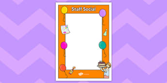 Staff Social Poster Template - staff social, poster, template, staff room