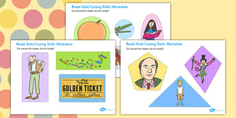 Roald Dahl Themed Cutting Skills Worksheet - fine motor skills