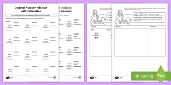 Decimal Number Addition with Estimation Differentiated Activity Sheets - ACMNA128, Year 6 Maths, Add Decimals, worksheets, Decimal Addition, Add Decimal Numbers, Decimal Num