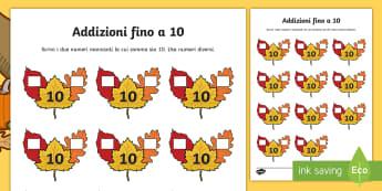 Addizioni fino a 10 sulle foglie autunnali Attività - numeri, addizioni, operazioni, matematica, autunno, materiale,  scolastico, italiano, italian