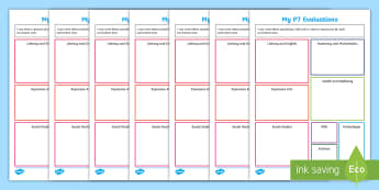 End of P1-P7 Evaluation Activity Sheets - CfE Transitions, end of year, new school year, new class, evaluations, targets, goals, worksheet, Sc