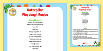 Caterpillar Playdough Recipe to Support Teaching on The Very Hungry Caterpillar - Playdough malleable EYFS
