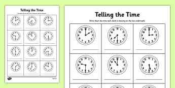 O'clock and Half Past Times Activity Sheet - o'clock, half past, times, activity, worksheet