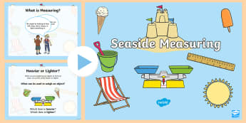 KS1 Seaside Measuring PowerPoint - Compare, Beach, Seaside, Water, Coast
