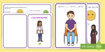 I Live with My Mum Social Story - single parent family, mum, dad, divorce, families, parenting