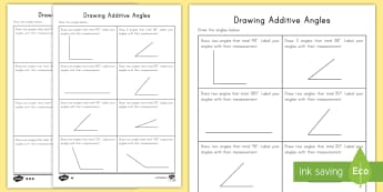 Drawing Additive Angles Activity - drawing angles, additive angles, adding angles, subtracting angles, acute, obtuse, straight, right