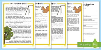 he Haunted House Differentiated Reading Comprehension Activity English/German  - Halloween, october, festival, autumn, EAL, German, English-German,,German-translation