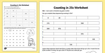 Counting in 25s Worksheet - counting, 25, worksheet, count, sheet
