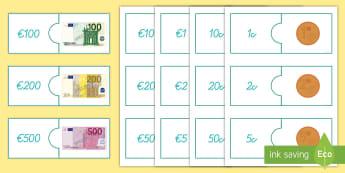 Geld: Euro Münzen und Geldscheine Puzzle Spiel - Euros, Geld, Geldscheine, Münzen, Spiel,German