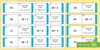 Place Value 2 Digits Loop Cards English/German  - maths, ones, tens, numbers, EAL, German, English-German,,German-translation