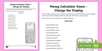 Money Calculator Game Change the Display Activity Sheet-Irish - money, measures, calculator games, calculation, maths operations, mental maths, activity sheets,Iris