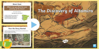 ES Altamira Cave Paintings PowerPoint English - Altamira, stone age, prehistory, Spanish history, Palaeolithic, cave paintings, bison, archaeologist