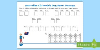 Australian Citizenship Day Secret Message Activity Sheet - Mathematics, Year 1,  Number and Algebra, Number and place value, ACMNA015, Year 2, ACMNA030, secret