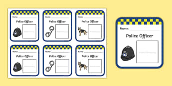 Police Role Play Badges - Police Station Role Play, police, policeman, police officer, police station resources, policewoman, police car, police van, handcuffs, criminal, people who help us, role play, display, poster