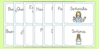 Greetings A5 Flashcards Spanish - spanish, greetings, a5, flashcards, flash cards, activity