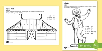 Circus Colour by Number Activity Sheets English/Hindi - colouring, colour, count, counting, colering, countng, couting, colourng, coloyur by number, coulori
