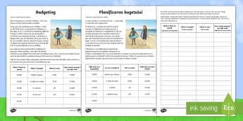 Budgeting for a Summer Holiday Money Activity Sheet English/Romanian - Money, Budgeting, Planning, spending,Scottish, scotland, curriculum, excellence, paying, eal
