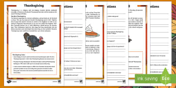 Thanksgiving KS2 Differentiated Reading Comprehension Activity