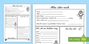 Alles über mich Arbeitsblatt - neues Schuljahr, ich, ich selbst, Fakten über mich, Kennenlernen, über uns,German