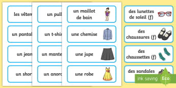 French Clothes Vocabulary Cards - france, languages, ourselves