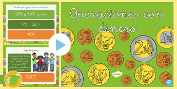 Presentación: Operaciones con dinero - Euro, dinero, cantidad, cantidades, operaciones, cálculo, sumar, restar, sumas, restas, presentaci