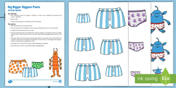 Big, Bigger, Biggest Pants Busy Bag Resource Pack for Parents - Aliens Love Underpants, Claire Freedman, space, size ordering, height, length, compare, big, small,