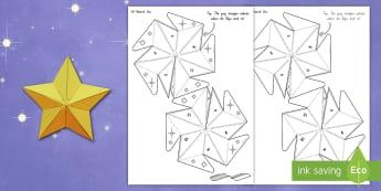 Matariki 3D Star Paper Craft - Matariki, craft, star, 3D, 3 dimension, stars, Maori New year