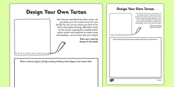 Design Your Own Tartan Activity Sheet - cfe, design, tartan, activity, scottish, worksheet