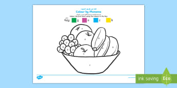 Colour by Phoneme Fruit Bowl Phase 2 g o c k Colouring Page Arabic/English  - Colour by Phoneme, Phase 2, g o c k, EAL, Arabic