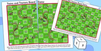 Trains And Tractors Board Game - trains, tractors, board game