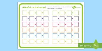 Adunări cu trei zaruri Joc - adunare cu suport vizual, matematică, adunări, scăderi, activități, jocuri, fișe,Romanian, wor