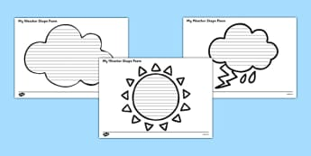 Weather Shape Poetry - seasons, shape poem, poems, poem, template