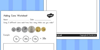 Adding Coins Worksheet - australia, adding, coins, worksheet