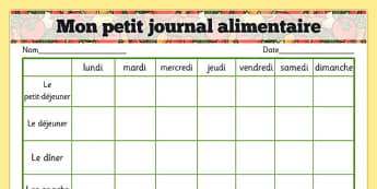 Healthy Eating My Food Journal French - french, healthy eating, healthy eating food journal, food journal, food diary, healthy eating food diary, food table, food record