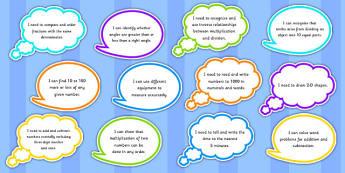 Year 3 Maths Assessment Targets on Speech Bubbles - maths, target