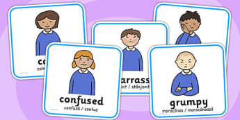 My Emotions Faces Discussion Cards Romanian Translation - romanian