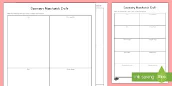Matchstick Geometry Craft - angles, acute angles, obtuse angles, right angles, straight angles, making angles, measuring angles