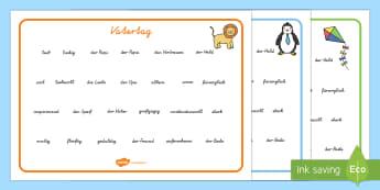Vatertag Adjektive und Substantive Wortschatzsammlung: Querformat - Vatertag, Adjektive, Substantive, Wortschatzsammlung, Querformat, Wortschatz, Beschreiben, Schreiben